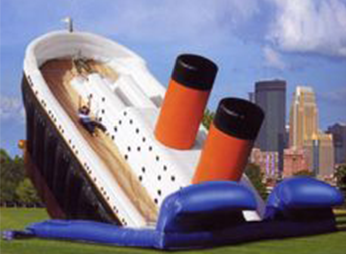 Inflatable slide rentals for kids. Tropical Dual Lane slide, Helix water blue wave slide, Firce & Ice Slide, titanic slide, dual lane slide, triple lane slide. Wide assortment of kids water slide rentals.