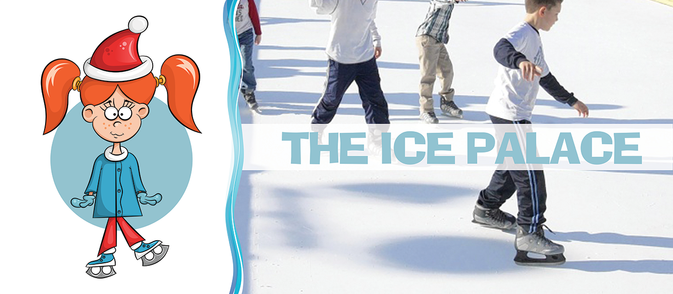 Image of kids skating on a mobile synthetic ice skating rink rental